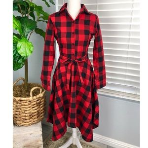 NWT XIAN XIAN RED AND BLACK PLAID DRESS
